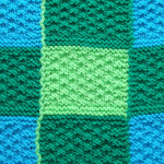 Blue and green chequerboard blanket