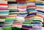 Pile of knitted blankets